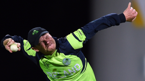 Ireland captain William Porterfield celebrates after taking the catch to win the game
