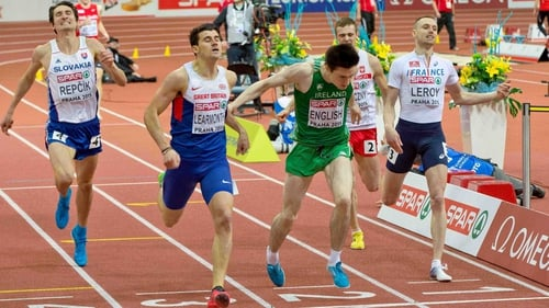 Mark English dips on the line for a second place and qualification for tomorrow's 800m final