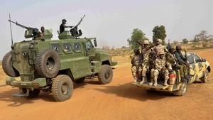 The Nigerian army patrols an area in Chibok, Borno State
