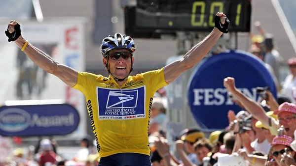 Lance Armstrong celebrates winning the Tour de France in 2004, a victory of which he would later be stripped