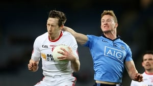 Dublin's Ciaran Kilkenny tackles Colm Kavanagh of Tyrone battle during the game on Saturday