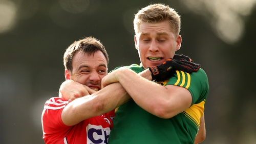 Tempers flare between Cork's Kevin O'Driscoll and Peter Crowley of Kerry