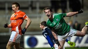 Fermanagh's Ruairi Corrigan celebrates scoring against Armagh