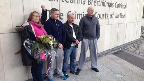 Bernie Hughes, Damien O'Neill, Paul Moore and Derek Byrne walked free from court this afternoon