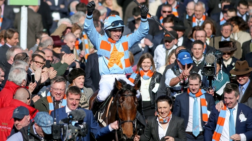 Ruby Walsh celebrates winning the Racing Post Arkle Trophy