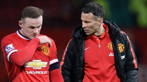 Wayne Rooney with Manchester United's assistant manager Ryan Giggs after the game