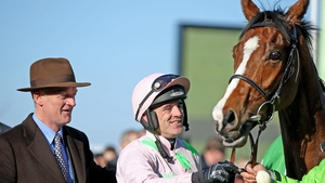 Willie Mullins and Ruby Walsh in the aftermath of Faugheen's Champion hurdle win in 2015