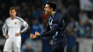 Porto midfielder Hector Herrera celebrates his goal