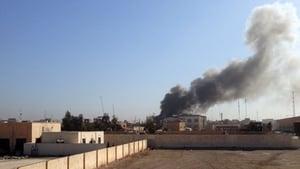 Smoke rises over Ramadi after a mortar attack