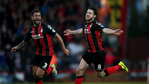 Harry Arter celebrates after scoring for Bournemouth