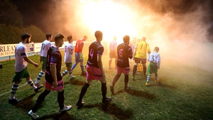 Cabinteely, playing their first League of Ireland game, and Wexford Youths arrive out for the start of the match on Friday