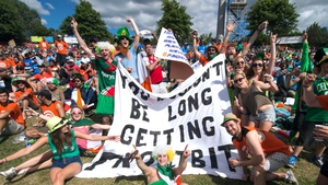 We suspect these Irish fans would in fact be long getting frostbit, at the Ireland v India Cricket World Cup game on Tuesday