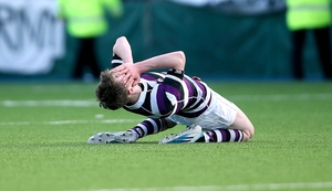 Terenure's James Nolan celebrates at the final whistle after his school's win over Cistercian College Roscrea in the Leinster Junior Cup on Tuesday