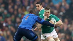 Jamie Heaslip will start at No 8 for Ireland; Johnny Sexton (background) is named at No 10