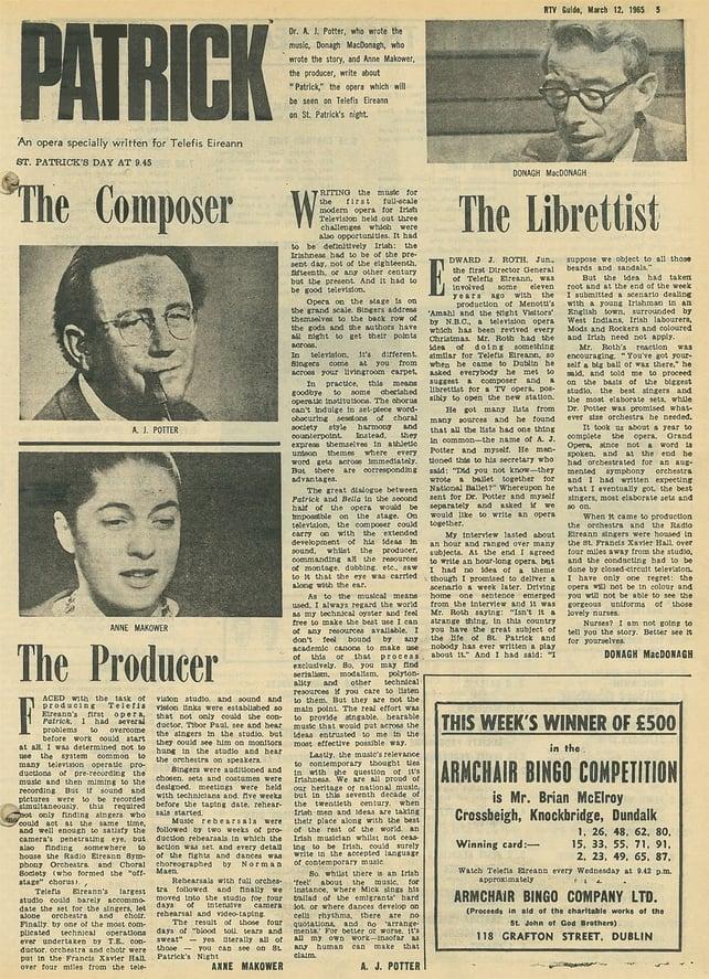 Patrick Opera RTV Guide 1965
