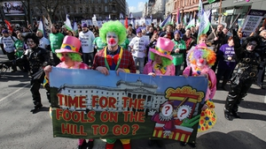Public sector workers at a mass rally in Belfast city centre