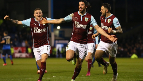 George Boyd of Burnley (C) celebrates the game's only goal