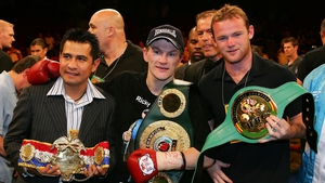 Wayne Rooney carried Ricky Hatton's belt into the ring prior to his fight against Jose Luis Castillo in Las Vegas in 2007