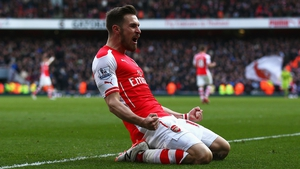 Aaron Ramsey celebrates scoring Arsenal's second goal against West Ham