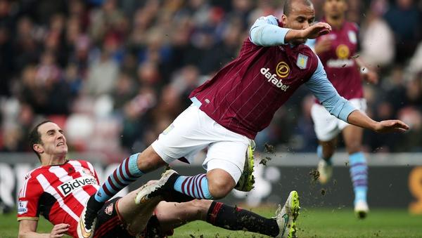 John O'Shea struggled throughout against Aston Villa