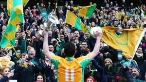 Michael Farragher celebrates in front of the Corofin supporters