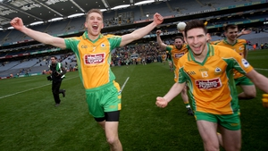 Kieran Fitzgerald (L) and Martin Farragher celebrate at the end of the game