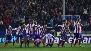 Atletico Madrid players celebrate after their penalty shootout success