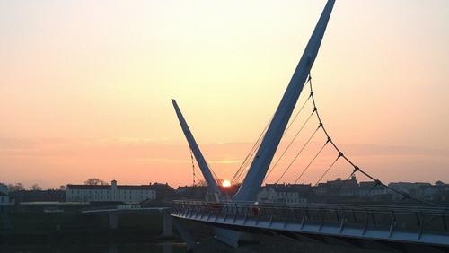 Sunrise over the Peace Bridge in Derry. Photo: Breandan Murray