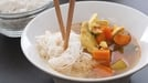 Chicken and Vegetable Broth with Rice Noodles - Serve hot as a healthy, tasty and simple meal.