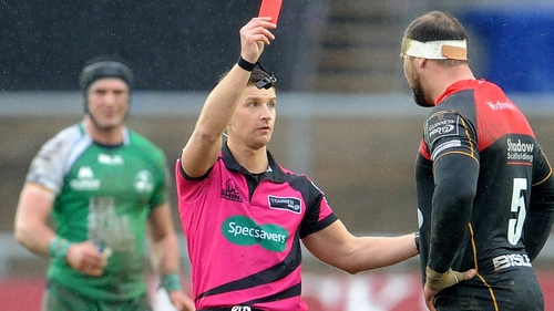 The South African second row was dismissed for a high tackle on Connacht out-half Jack Carty