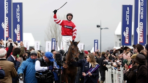 Coneygree and Nico de Boinville make their way to the winners' enclosure after the novice recorded a remarkable front-running victory in the Gold Cup at Cheltenham
