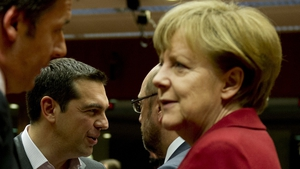 Greek Prime Minister Alex Tsipras and German Chancellor Angela Merkel at the Brussels summit