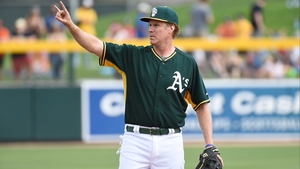 Will Ferrell lines out for the Oakland Athletics as they take on the Seattle Mariners as part of a new HBO special from Funny Or Die to support cancer charities at Hohokam Stadium in Arizona