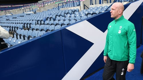 Paul O'Connell during the captain's run at Murrayfield this morning