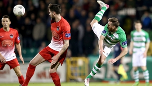 Cork City's Darren Dennehy and Pat Cregg of Shamrock Rovers in action during the game