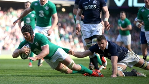 Sean O'Brien scored a brace of tries for Ireland at Murrayfield