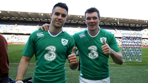 Ireland's Conor Murray and Peter O'Mahony celebrate after the victory over Scotland
