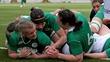 Victorious Irish women's rugby team return home