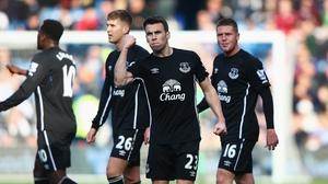 Seamus Coleman celebrates his first-half goal which put Everton 1-0 up