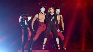 Madonna performing at the Brits