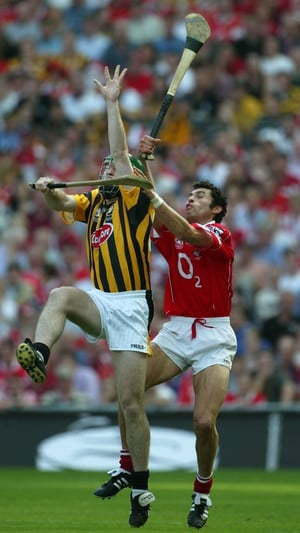 Battling with another great of the game, Seán Óg Ó hAilpín of Cork, during the 2003 All-Ireland decider