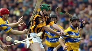 Getting a shot in despite the efforts of the Clare defence during the 2002 All-Ireland final