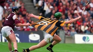 Suspicion of a tug on Henry's jersey from Liam Hodgins of Galway during the 2000 All-Ireland semi-final
