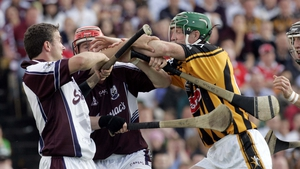 Tempers flare in the early part of the 2006 All-Ireland quarter-final with Liam Donoghue and Ollie Canning of Galway