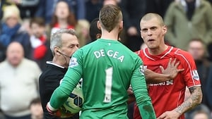 Martin Skrtel is charged with stamping on David de Gea