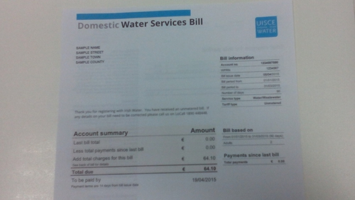 Irish Water sent out bills to more than 1.7 million households during its first billing cycle