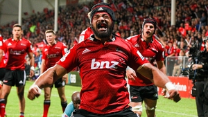 Jordan Taufua of the Crusaders is pretty psyched after scoring a try against the Cheetahs at AMI Stadium in Christchurch, New Zealand