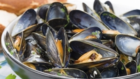 Kilmore Quay Mussels with Bacon and White Wine - Serve with some crusty bread.