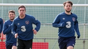 Wes Hoolahan, Stephen Ward - who has recovered from an ankle injury - and Harry Arter in training at Malahide today