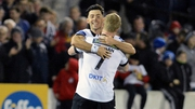 Richie Towell celebrates scoring Dundalk's second goal with Daryl Horgan